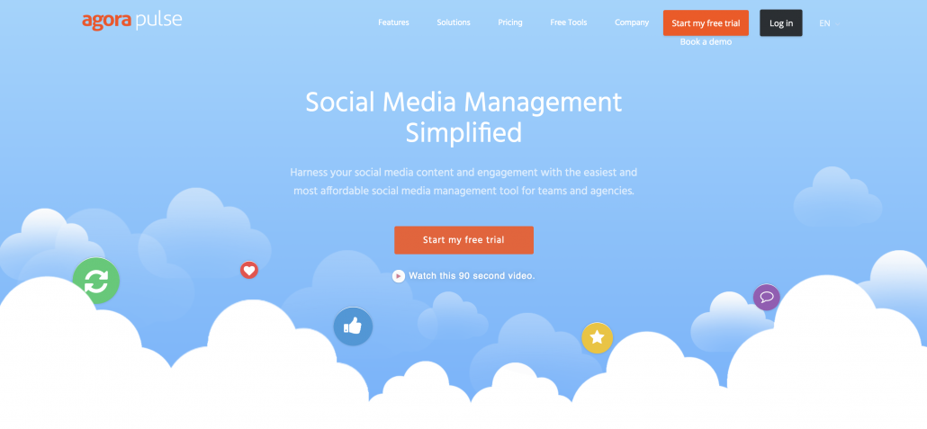 Agore pulse homepage, a social media management tool allowing users to post to multiple social media websites.