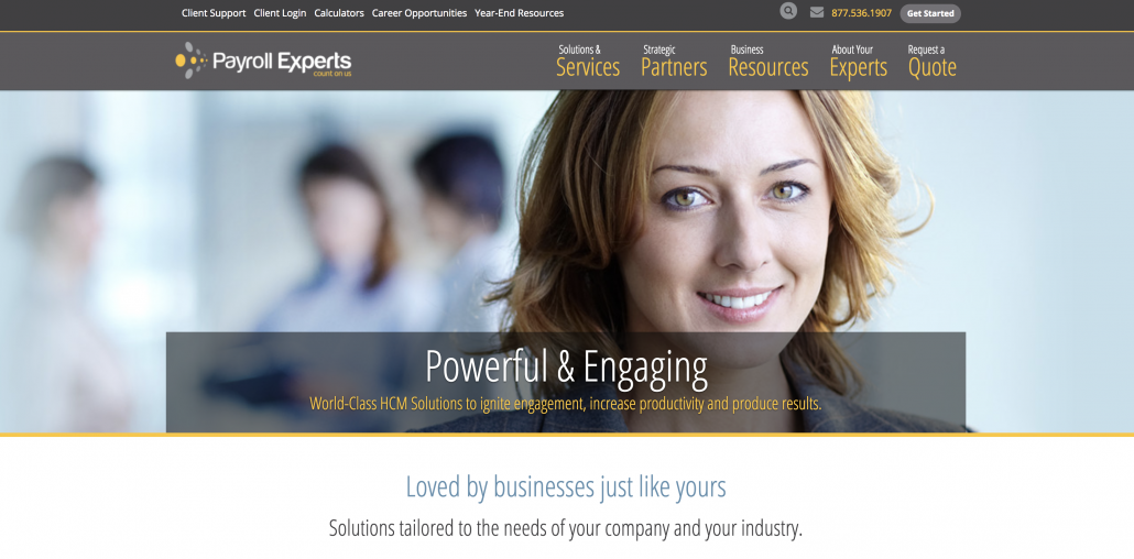 Screenshot of Payroll Experts website, providing payroll solutions for businesses.