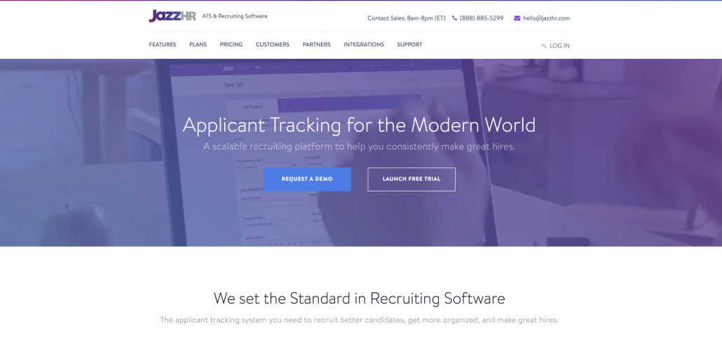 JazzHR homepage, a website for tracking applicants and recruiting software.