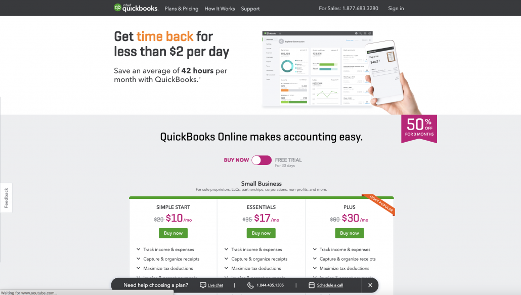 Quickbooks website with pricing for their accounting software for small businesses.