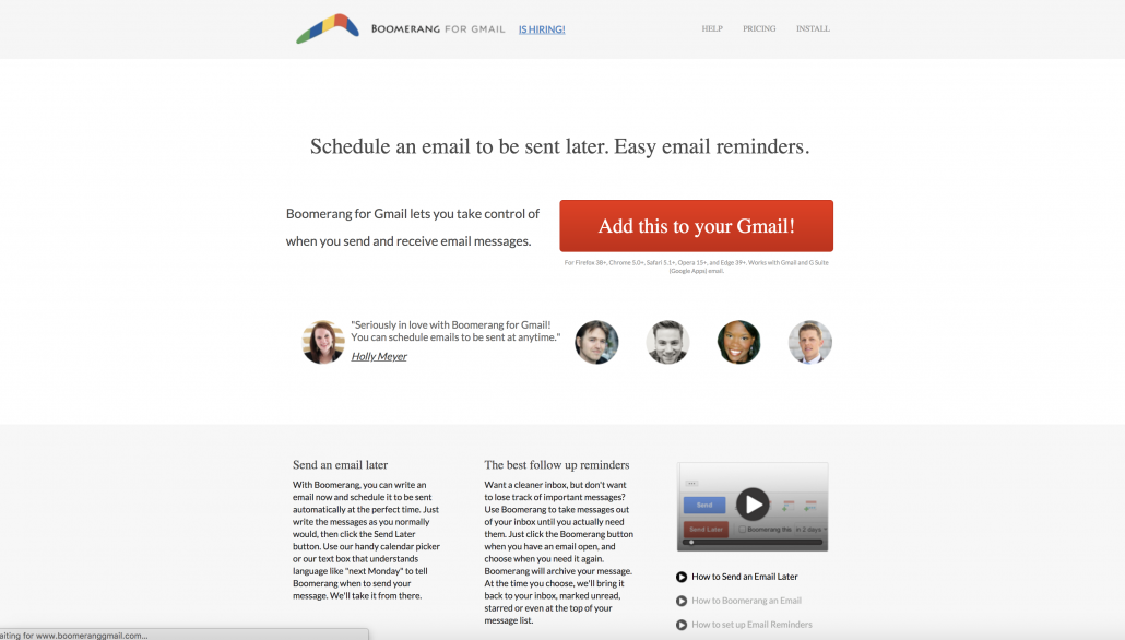 Screenshot of Boomerang website, showing that you can add Boomerang to Gmail to send emails late and get email reminders.