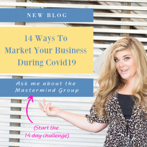 Business Women pointing to marketing blog